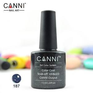 Гель-лак Canni №187 полупрозрачный черный с голографическими блестками