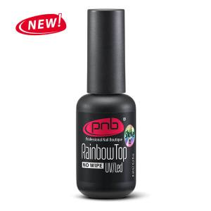 Топ с разноцветными шиммерами UV/LED Rainbow Top No wipe PNB 8мл