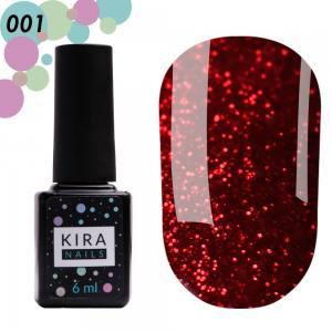 Гель-лак Red Hot Kira Peppers №001 (рубиновый с ярко-красными блестками), 6 мл