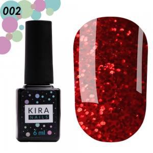Гель-лак Red Hot Kira Peppers №002 (красный с коралловыми блестками), 6 мл