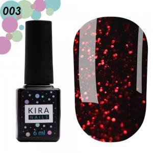 Гель-лак Red Hot Kira Peppers №003 (винный с карминовыми блестками), 6 мл