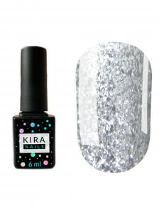 Гель-лак Kira Nails Shine Bright №001 (серебро с блестками), 6 мл