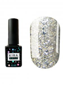 Гель-лак Kira Nails Shine Bright №003 (белое золото с блестками), 6 мл