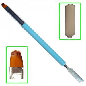 Кисточка для полигеля Mart №6 + шпатель голубой