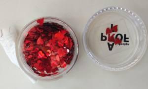 Камифубики (сердечки) конфетти для дизайна ногтей, красные KF-20