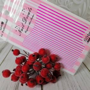 Наклейка гибкая лента розовая неоновая