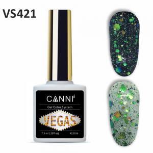 Гель-лак CANNI VEGAS 421 зелено-золотой  7,3 ml