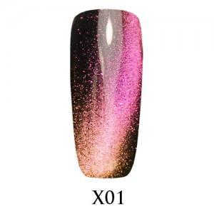 Гель-лак Adore Galaxy Cat`s Eye X01 Фиолетово-золотой перелив 7,5 мл.