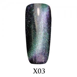 Гель-лак Adore Galaxy Cat`s Eye X03 Сине-зелёный перелив 7,5 мл.