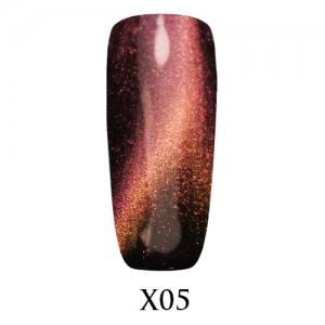 Гель-лак Adore Galaxy Cat`s Eye X05 Красно-золотой перелив 7,5 мл.