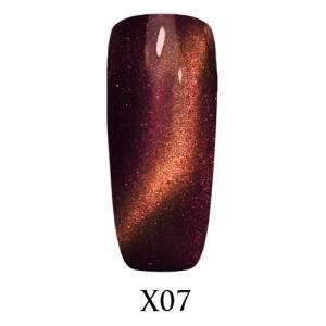 Гель-лак Adore Galaxy Cat`s Eye X07 Пурпурно-оранжевый перелив 7,5 мл.