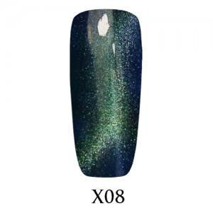 Гель-лак Adore Galaxy Cat`s Eye X08 Зелёно-синий перелив  7,5 мл.