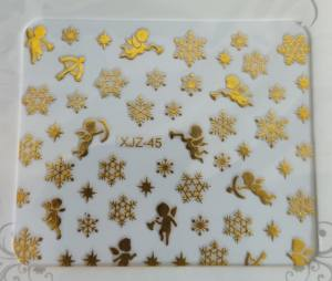 Новогодняя наклейка XJZ-45 Ангелы и снежинки золото