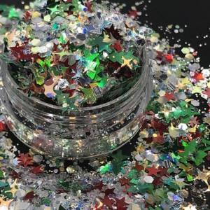 Камифубики новогодние, конфетти для дизайна ногтей MC-102